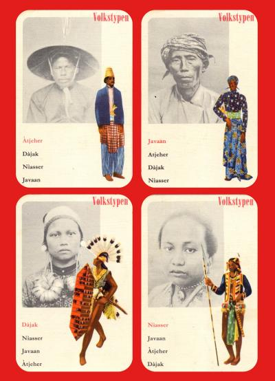 . Set of four playing cards with ethnic types, part of the Colonial Card Play
